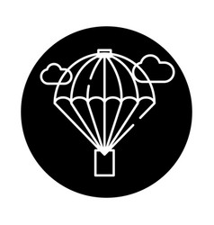 balloon black icon sign on isolated vector image