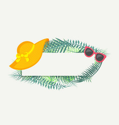 banner with green tropical leaves summer hat vector image