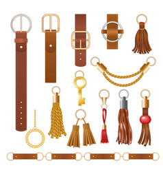 Belt elements fashion leather chains fabric vector
