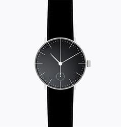 Black realistic minimal wrist watch vector