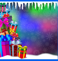 Bokeh glowing background with heap of gifts vector