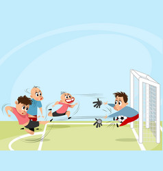 boys playing football outdoors vector image