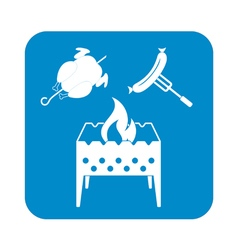 Brazier chicen and sausage icon vector
