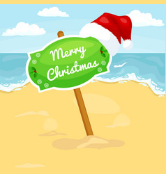 Cartoon beach landscape with sign merry christmas vector