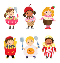 Cartoon of cute kids in food costumes set vector