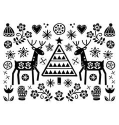 christmas folk art greeting card with reindeer vector image