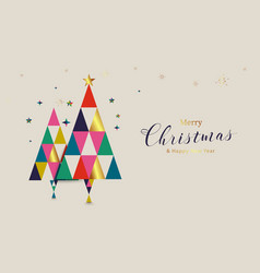 christmas tree and geometric shapes vector image