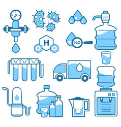 Cleaning supplies water filtration isolated icons vector