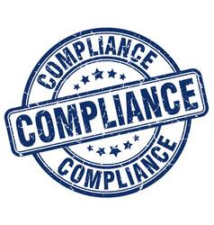 Compliance blue grunge round vintage rubber stamp vector