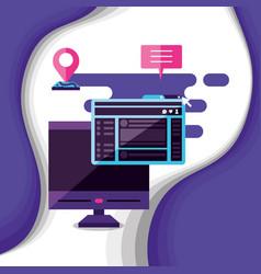 Computer desktop with social media icons vector