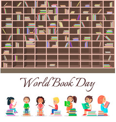concept of world book day with big brown bookcase vector image
