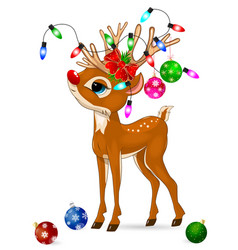 deer with christmas decorations deer and vector image