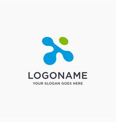 digital letter x link logo icon vector image