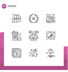Editable line pack 9 simple outlines of vector
