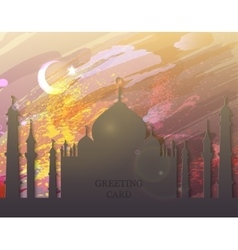 Eid al fitr card - watercolor mosque vector image