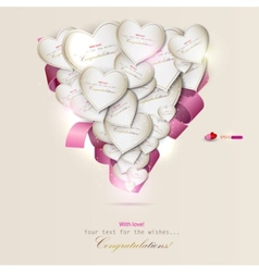 Elegant background with gift cards hearts vector