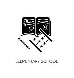 Elementary school black glyph icon vector