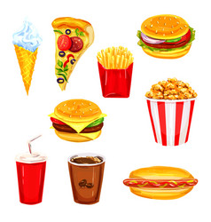 Fast food restaurant lunch menu watercolor set vector
