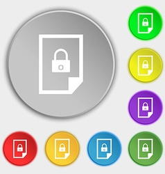 File unlocked icon sign Symbols on eight flat vector