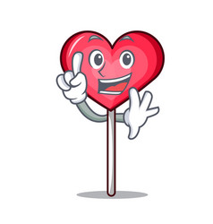 Finger heart lollipop mascot cartoon vector