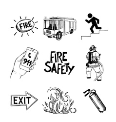 fire safety and means salvation icons set vector image