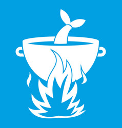 Fish soup on a fire icon white vector