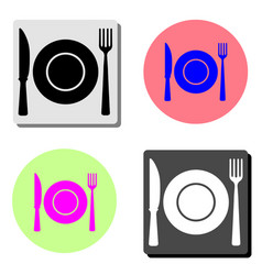 food symbol restaurant plate fork and spoon flat vector image