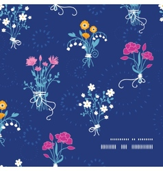 Fresh flower bouquets frame corner pattern vector image