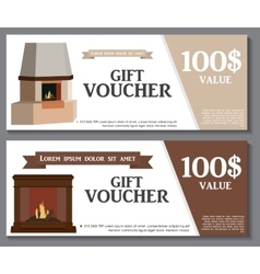 Gift Voucher Template with variation of fireplaces vector
