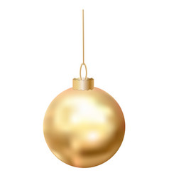 gold christmas ball icon realistic style vector image