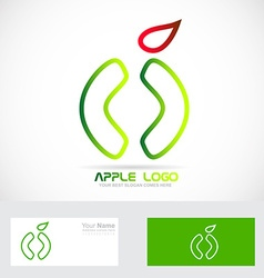 Green apple healthy food logo icon vector image