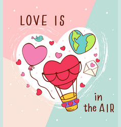 greeting card with love icons for valentines day vector image