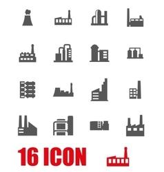 Grey factory icon set vector