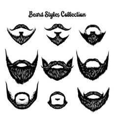 hand drawn beard styles collection vector image