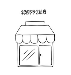 hand drawn shop shopping concept vector image
