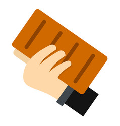 hand holding a brick icon isolated vector image