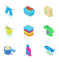Hand wash icons set isometric style vector