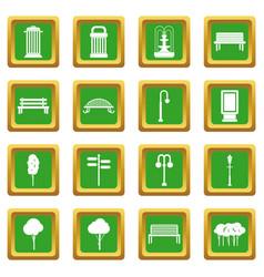 Hangar icons set green vector