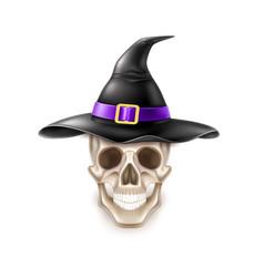 Happy halloween element skull in witch hat vector