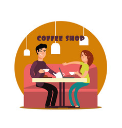 Happy young couple working in coffee shop vector