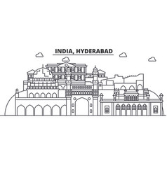 hyderabad india architecture line skyline vector image