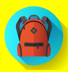 icon of bright red school or travel backpack vector image