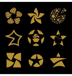 Isolated golden stars logo set Space vector image