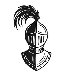 Knight helmet monochrome vector