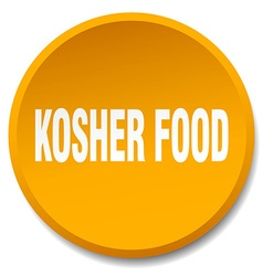 Kosher food orange round flat isolated push button vector