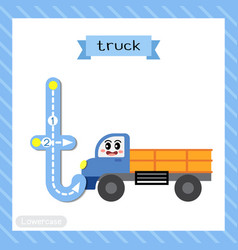 Letter t lowercase tracing truck vector