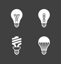 Light bulb icons standard halogen incandescent vector