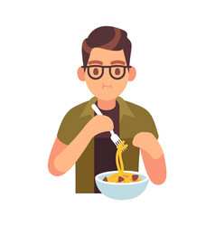 Man eating meal hungry male character vector