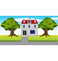 Mansion on nature vector
