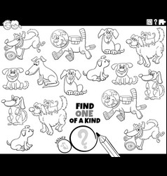 one a kind task with cartoon dogs coloring vector image
